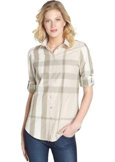 Burberry khaki plaid cotton button front shirt