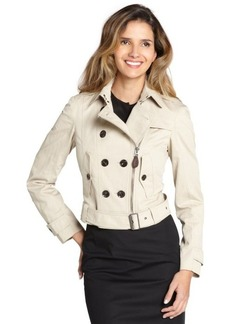 Burberry khaki stretch cotton cropped trench