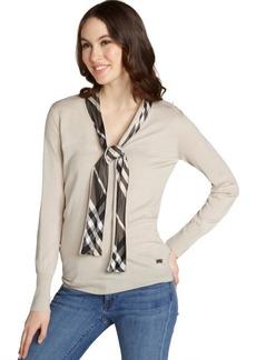 Burberry khaki wool nova check tie accent long sleeve sweater