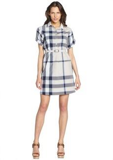 Burberry lapis blue cotton plaid belted roll sleeve shirt dress