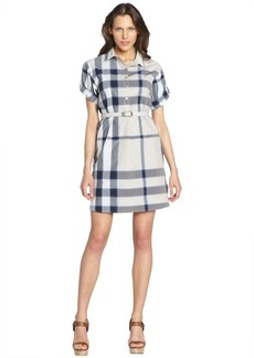 Burberry lapis blue cotton plaid belted roll sleeve shirt dress