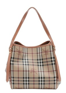 Burberry light pink and honey haymarket check coated canvas small 'Canterbury' tote