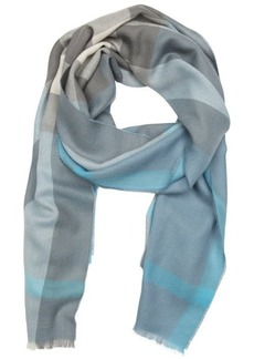 Burberry light steel blue check cashmere woven frayed scarf