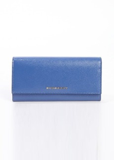 Burberry light steel blue glossy crosshatched leather continental wallet