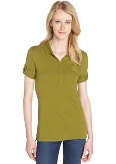 Burberry lime chartreuse cotton and modal polo shirt