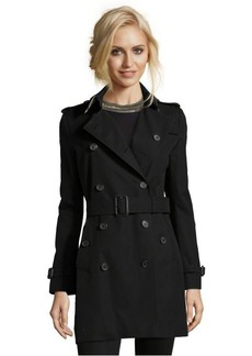 Burberry London black woven 'Buckingham' double breasted trench coat