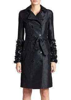 Burberry London Brackenhillem Sequin-Sleeve Trench Coat