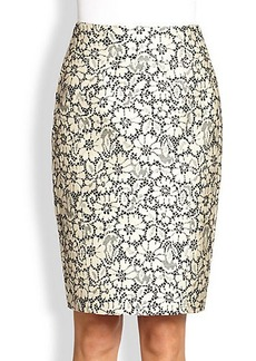 Burberry London Brocade Lace Pencil Skirt