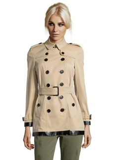 Burberry London honey cotton 'Marlborough' double breasted trench coat