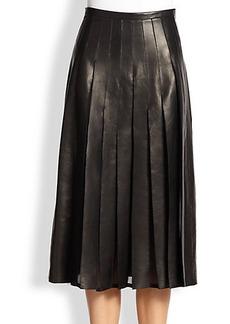 Burberry London Leather & Silk Chiffon Skirt