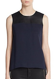Burberry London Leather/Silk Sleeveless Top