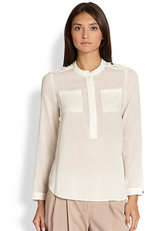 Burberry London Long-Sleeve Zip-Front Blouse