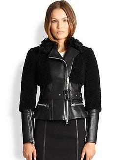 Burberry London Oxvale Leather & Shearling Jacket