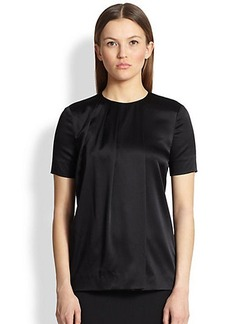 Burberry London Pleated Stretch Silk Blouse