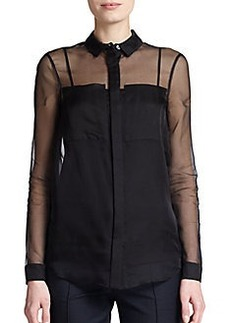 Burberry London Sheer Organza Blouse