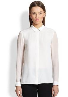 Burberry London Sheer-Sleeve Silk Blouse