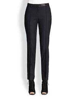 Burberry London Taverham Leather-Trimmed Wool Pants