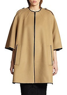Burberry London Woodhouse Leather-Trimmed Cape