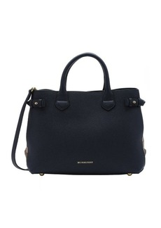 Burberry midnight blue calfskin and house check canvas medium 'Banner' tote