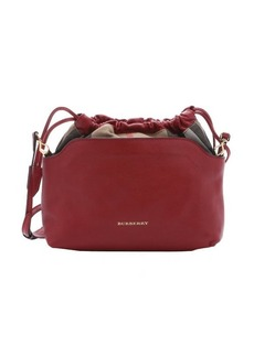 Burberry military red calfskin and house check canvas 'Little Crush' shoulder bag