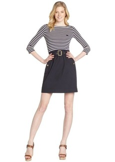 Burberry navy blue breton stripe three quarter sleeve belted dress