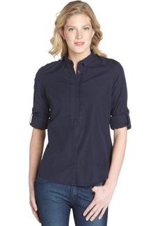 Burberry navy blue cotton button front shirt