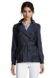 Burberry navy nylon double breasted 'Peasdale' short trench coat