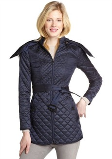 Burberry navy quilted fur trimmed hooded coat