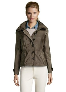 Burberry olive green nylon 'Becksmarsh' roll-up sleeve jacket