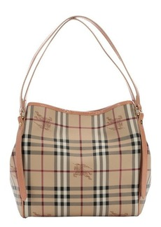 Burberry pale coral pink and honey haymarket check coated canvas small 'Canterbury' tote