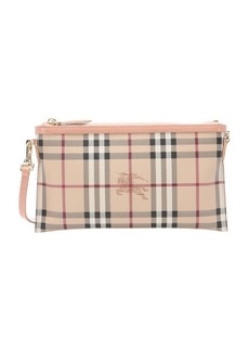 Burberry pale pink haymarket check coated canvas 'Peyton' convertible crossbody