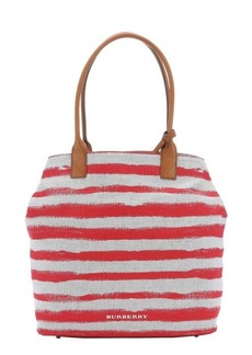 Burberry pale stone and red striped canvas medium 'Lauriston' shopping tote