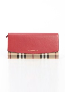 Burberry pink leather and nova check canvas continental wallet