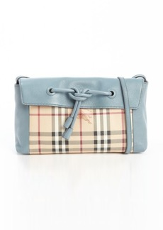 Burberry powder blue and beige leather nova check accent knot detail shoulder bag