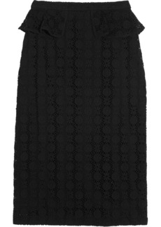 Burberry Prorsum Crocheted lace peplum pencil skirt