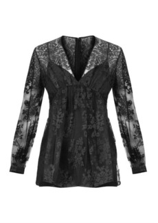 Burberry Prorsum Embroidered floral-lace top