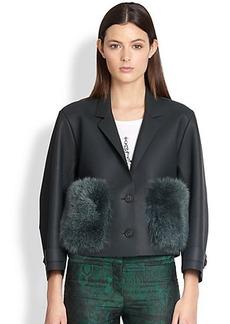Burberry Prorsum Fur-Pocket Leather Jacket