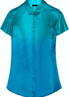 Burberry Prorsum Gradient-effect silk-satin blouse