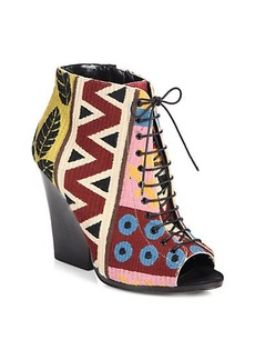 Burberry Prorsum Virginia Tapestry Lace-Up Ankle Boots