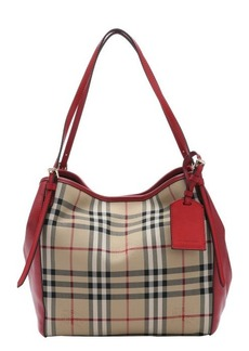 Burberry red and honey check nylon 'Canterbury' small tote