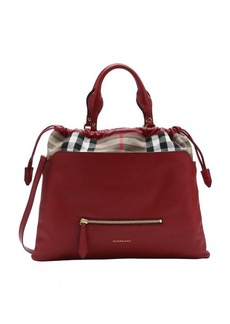 Burberry red calfskin and house check canvas 'Big Crush' convertible tote