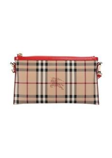Burberry red haymarket check coated canvas 'Peyton' crossbody bag