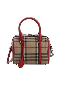 Burberry red leather and honey house check small 'Alchester' convertible bowling bag