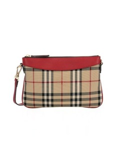 Burberry red leather and horseferry check nylon 'Peyton' crossbody bag