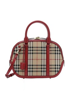 Burberry red leather and horseferry check nylon small 'Orchard' bowling tote