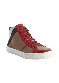 Burberry red leather and nova check canvas 'Tess' high top sneakers
