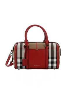 Burberry red leather and tan house check canvas medium 'Alchester' convertible bowling bag