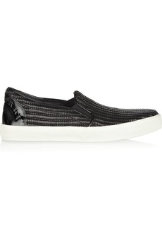 Burberry Shoes & Accessories Raffia-effect cotton-blend slip-on sneakers