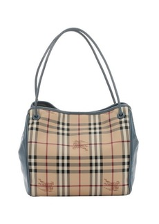 Burberry slate blue and honey haymarket coated canvas knots 'Canterbury' small tote