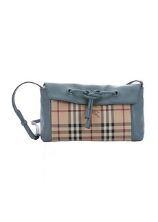Burberry slate blue leather and haymarket check coated canvas small 'Leah' shoulder bag